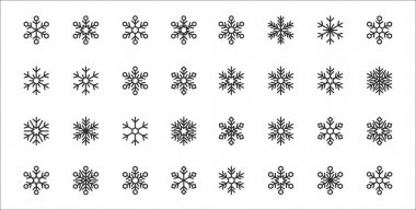 Set of 32 snowflakes thin outline icons such as snowflake, snowflake, snowflake, icon