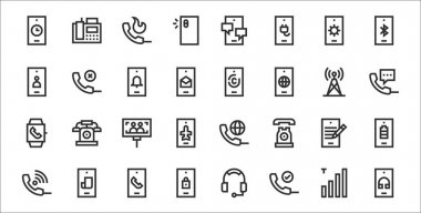 Set of 32 phone thin outline icons such as smartphone, phone, lock, phone call, write, smartphone, call, fingerprint, icon