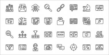 Set of 32 internet marketing strategy thin outline icons such as hierarchy, target, performance, podcast, security, ranking, plugins, archive, analysis icon