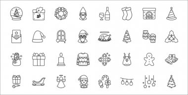 Set of 32 christmas thin outline icons such as christmas tree, christmas lights, girl, giving present, gingerbread, candle, mistletoe, cooked chicken, santa hat icon