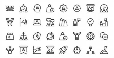 Set of 32 teamwork thin outline icons such as goal, puzzle, hourglass, mission, one, pie chart, goal, team, tick icon