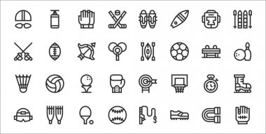 Set of 32 sport equipment thin outline icons such as baseball, football shoes, baseball, helmet, stopwatch, golf, bowling, kayak, american football icon