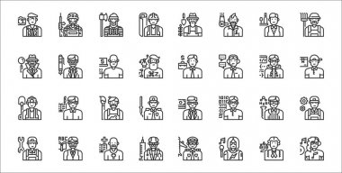 Set of 32 professions and occupation thin outline icons such as disc jockey, singer, doctor, technician, chemist, artist, delivery man, salesman, ceo icon