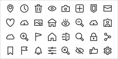 Set of 32 user interface thin outline icons such as gear, eye, adjustment, bookmark, padlock, flag, profile, eye, download icon