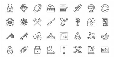 Set of 32 fishing thin outline icons such as tuna can, shoal, boots, bonfire, lobster, turbine, radar, fishing baits, helm icon