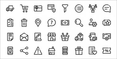 Set of 32 ecommerce basic thin outline icons such as discount, gift box, home, mobile security, payment method, document, voucher, cash, delete icon