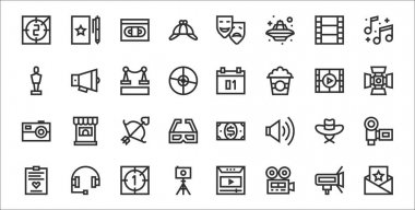 Set of 32 film industry thin outline icons such as invitation, videocamera, camera, script, hat, arrow, light, calendar, megaphone icon