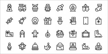 Set of 32 christmas presents thin outline icons such as sweater, ring, keychain, soldier, frame, gingerbread man, christmas bag, snowman, bell icon