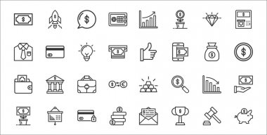 Set of 32 business finance thin outline icons such as piggy bank, trophy, earning, growth, analytics, briefcase, coin, like, card icon