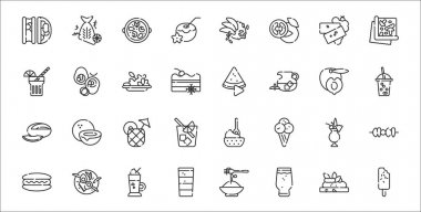 Set of 32 summer food and drink thin outline icons such as ice cream, beer, shot, hot dog, pi?a colada, pineapple juice, bubble tea, watermelon, stuffed avocado icon