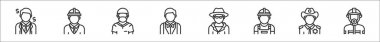 Set of 8 profession avatar thin outline icons such as businessman, engineer, surgeon, waiter, detective, construction worker, sheriff, firefighter icon