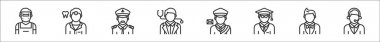Set of 8 profession avatar thin outline icons such as welder, dentist, captain, doctor, postman, scholar, showman, customer service icon