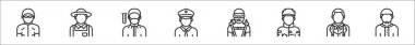Set of 8 profession avatar thin outline icons such as swimmer, farmer, chemist, policeman, diver, soldier, butler, moslem icon