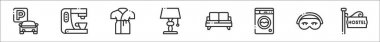 Set of 8 bed and breakfast thin outline icons such as parking, coffee machine, bathrobe, lamp, sofa, washing machine, sleeping mask, hostel icon