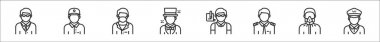 Set of 8 profession avatar thin outline icons such as teacher, delivery courier, scientist, magician, journalist, pilot, chemist, taxi driver icon
