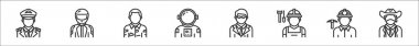 Set of 8 profession avatar thin outline icons such as pilot, racer, soldier, astronaut, manager, builder, miner, cowboy icon