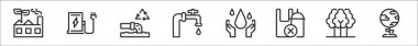 Set of 8 save the world thin outline icons such as factory, fuel station, water, faucet, save water, no plastic, tree, earth icon