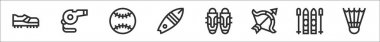 Set of 8 sport equipment thin outline icons such as football shoes, whistle, baseball, surfboard, leg guard, archery, ski, badminton icon
