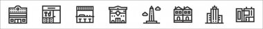 Set of 8 urban building thin outline icons such as cinema, bar, bar, police station, obelisk, terraced house, skyscrapper, modern house icon