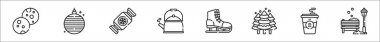 Set of 8 winter thin outline icons such as cookies, christmas ball, candy, kettle, ice skating, pine tree, coffee, bench icon
