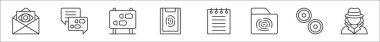 Set of 8 detective thin outline icons such as envelope, footprints, footprints, fingerprint, notepad, folder, doughnut, detective icon