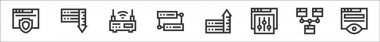 Set of 8 web hosting thin outline icons such as browser, server, wifi router, database, server, setting, website, monitoring icon