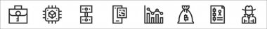 Set of 8 blockchain thin outline icons such as briefcase, cpu, money, qr code, bar graph, money bag, blockchain, annonymous icon