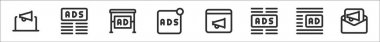 Set of 8 advertising thin outline icons such as advertising, ads, ads, ads, broadcast, icon
