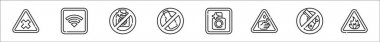 Set of 8 signal and prohibitions thin outline icons such as bleach, wifi, no camera, no alcohol, photo, acid, no weapons, flammable icon