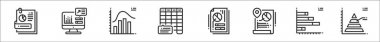 Set of 8 data analytics thin outline icons such as file, data, histogram, frequency, data, bar, pyramid icon