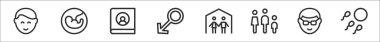 Set of 8 family thin outline icons such as boy, fetus, photo album, male, family, family, father, fertility icon