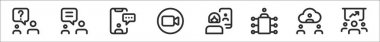 Set of 8 meeting thin outline icons such as chatting, chatting, chatting, camera, videocall, meeting, video chat, discussion icon