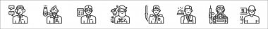 Set of 8 professions and occupation thin outline icons such as customer service, hairstylist, accountant, graphic de, security man, front desk, soldier, freelancer icon