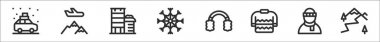 Set of 8 winter travelling thin outline icons such as car, mountain, buildings, snowflake, earmuffs, sweater, man, mountain icon