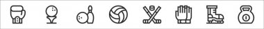 Set of 8 sport equipment thin outline icons such as boxing, golf, bowling, volleyball, hockey, gloves, ice skate, kettlebell icon
