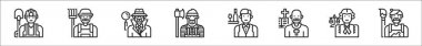Set of 8 professions and occupation thin outline icons such as labor, farmer, detective, lumberjack, waiter, priest, lawyer, artist icon