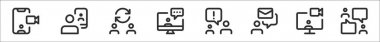 Set of 8 meeting thin outline icons such as videocall, videocall, switch, chatting, chatting, email, video chat, chatting icon