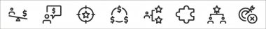 Set of 8 business thin outline icons such as money, chat, target, money, networking, puzzle, rating, remove icon
