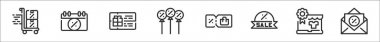 Set of 8 black friday thin outline icons such as trolley, calendar, gift card, balloon, coupon, sale, laptop, email icon