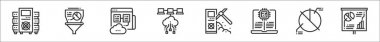 Set of 8 data analytics thin outline icons such as data, data, web hosting, machine, pie chart, icon