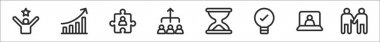 Set of 8 teamwork thin outline icons such as mission, diagram, puzzle, teamwork, hourglass, bulb, conference, holding hands icon