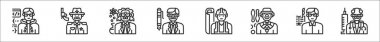 Set of 8 professions and occupation thin outline icons such as programmer, sheriff, scientist, ceo, engineer, juggler, writer, doctor icon