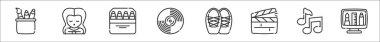 Set of 8 fine arts thin outline icons such as stationery, woman, pencils, vinyl, ballet shoes, clapperboard, quaver, graphic de icon