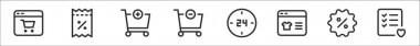 Set of 8 commerce thin outline icons such as online shopping, discount voucher, add, remove, hours, online shopping, discount, wishlist icon