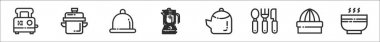 Set of 8 kitchenware thin outline icons such as toaster, pot, dish, blender, tea pot, cutlery, juicer, bowl icon