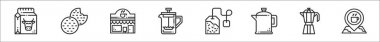 Set of 8 coffe shop thin outline icons such as milk, cookie, coffee shop, coffee maker, tea bag, percolator, moka pot, place icon