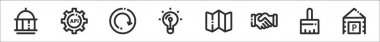 Set of 8 basic ui elements thin outline icons such as government, settings, refresh, light bulb, map, handshake, clean, car parking icon