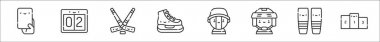 Set of 8 hockey thin outline icons such as penalty card, score, hockey stick, ice skates, fan, hockey player, socks, podium icon