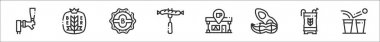 Set of 8 beer thin outline icons such as tap, wheat, bottle cap, sausage, bar, peanut, barrel, beer pong icon