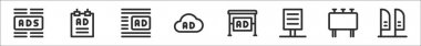 Set of 8 advertising thin outline icons such as ads, poster, ads, ads, poster, billboard, pennant icon
